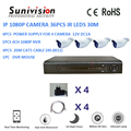 High quality promotional 960p HI3518E+H81 36pcs IR leds 30m ip camera 4ch nvr kit