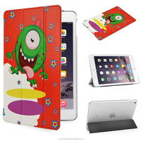 Naughty Monster design with Orange color PU Leather Case for Apple iPad mini 4 Ultra Slim case