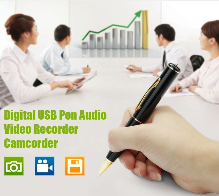 4GB USB Recorder Pen Camera Voice Recorder DVR Video Hidden Camera Business Portable Recorder Gold and Sliver