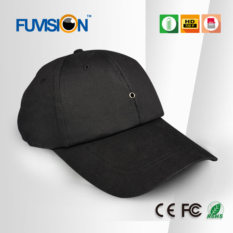 Portable cap with pinhole lens hidden camera for outside monitoring business
