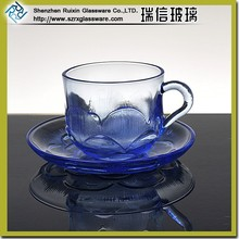 Blue personalized glass coffee cup and saucer set