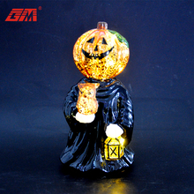 New products battery operated artificial glass halloween lights pumpkin ghost for decoration