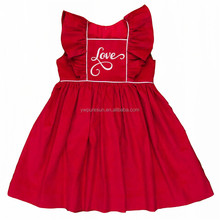 wholesale Valentine's Day cotton ruffle <strong>girl's</strong> boutique <strong>dresses</strong>