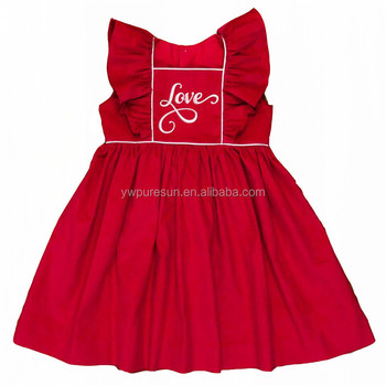 wholesale Valentine's Day cotton ruffle girl's boutique dresses