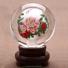 home decoration ball inner hand drawing flower image crystal ball