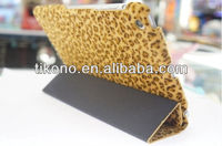 Stylish fold leopard design leather case for ipad mini