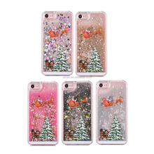 2017 New Arrival Christmas Tree Quicksand Shell Hard PC Back Cover Case for iPhone 7/8