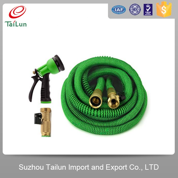 Super Strong Garden Hose/Expandable Hose with All Brass Connector and Free 8-Pattern Spray Nozzle, Green