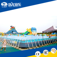 giant Outdoor Rectangular Metal Steel Frame Swimming Pool Above Ground for sale