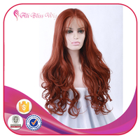 22 Inch Cheap Long Heat Resistant Japanese Ladies' Synthetic Human Natural Wavy Hair Copper Red Lace Front Wig with Baby Hair