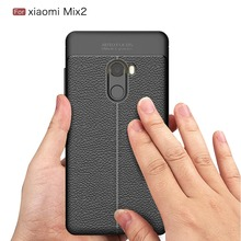 Hot Sell Lichi Style Mobile Phone Lichi Style Leather Soft TPU Phone Case for Xiaomi MIX 2