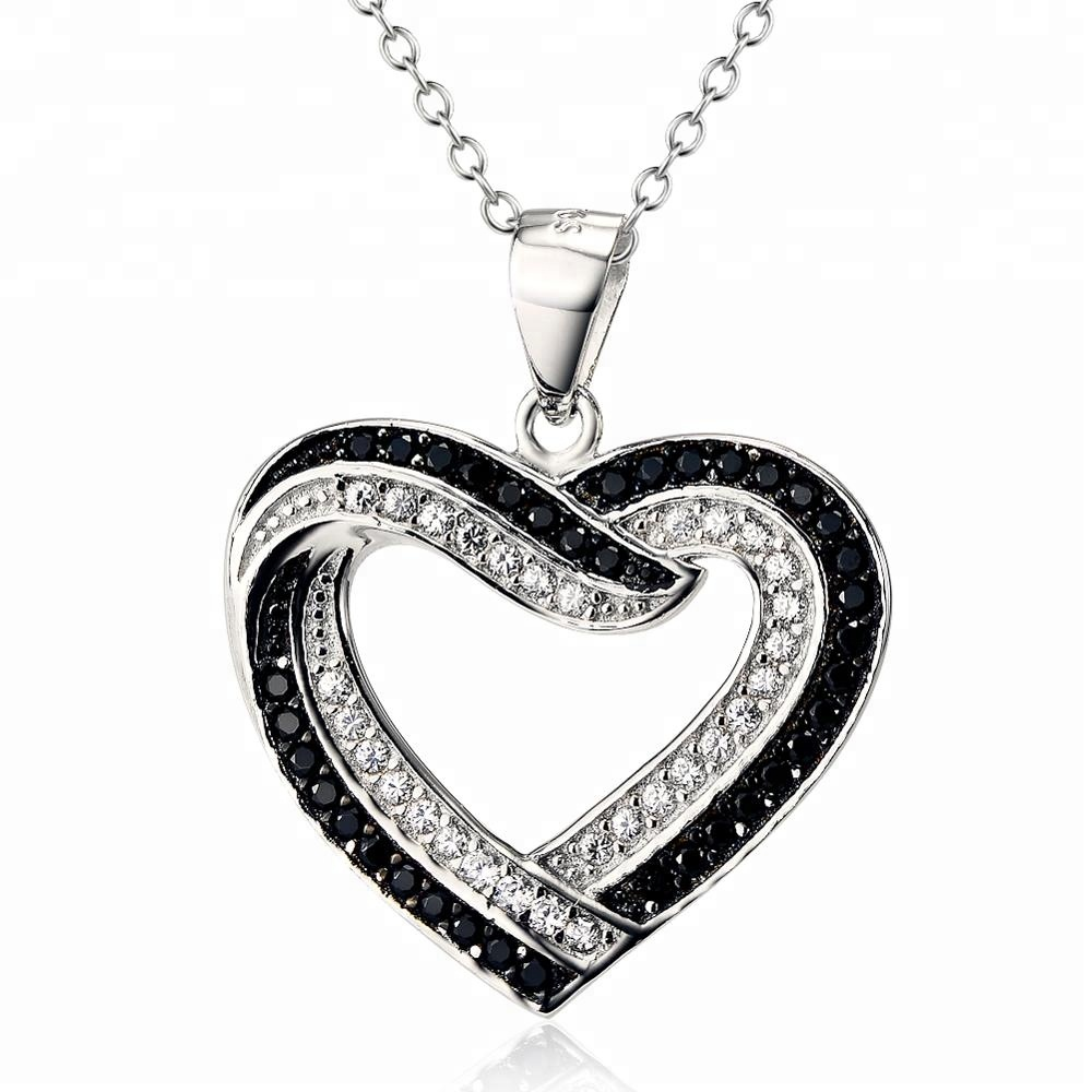Fashion Sterling Silver <strong>Jewelry</strong> ,Pure 925 Sterling Silver Black Stone Heart Shaped Necklace For Women And Girls