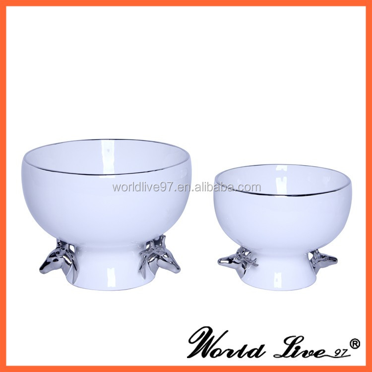 round shape porcelain decorative fruit bowls for coffee table