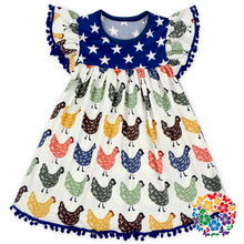 Cute Flutter Sleeve Boutique Chicken Print Dress Girl Dress With Pom Poms New Baby Frock Design 2017 Toddler Dresses For Party