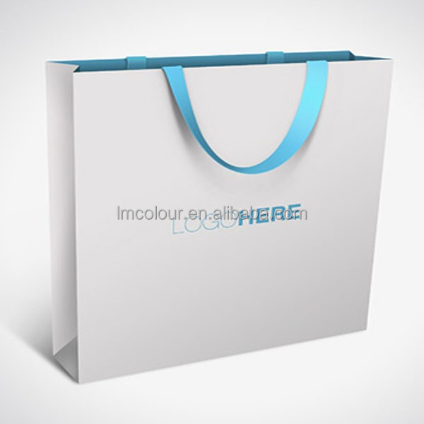 White color boutique logo recyclable reusable custom printed paper bag