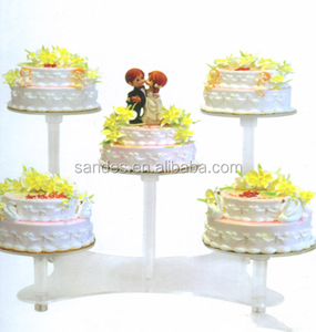 Unique Single Layer of Transparent Organic Glass Cake Stand Column Acrylic Cake Stand for Wedding Party
