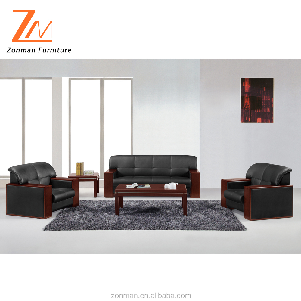 Traditional design genuine leather office sofa with wooden legs and arms
