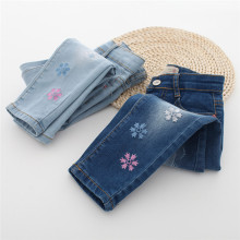 Snow Embroidery Girls Jeans Slim Autumn Denim Casual Girls Trousers Kids Children Jeans fashion leggings