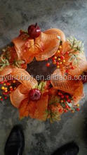 2016New Style Fruits and Pumpkin Decoratived Orange Mesh Wreath for harvest