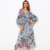 guangzhou hot sales maxi long sleeve bow -tie dress sexy wrap elegant boho floral dress