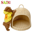 New style handmade small animal house pets bed plastic rattan pet cage