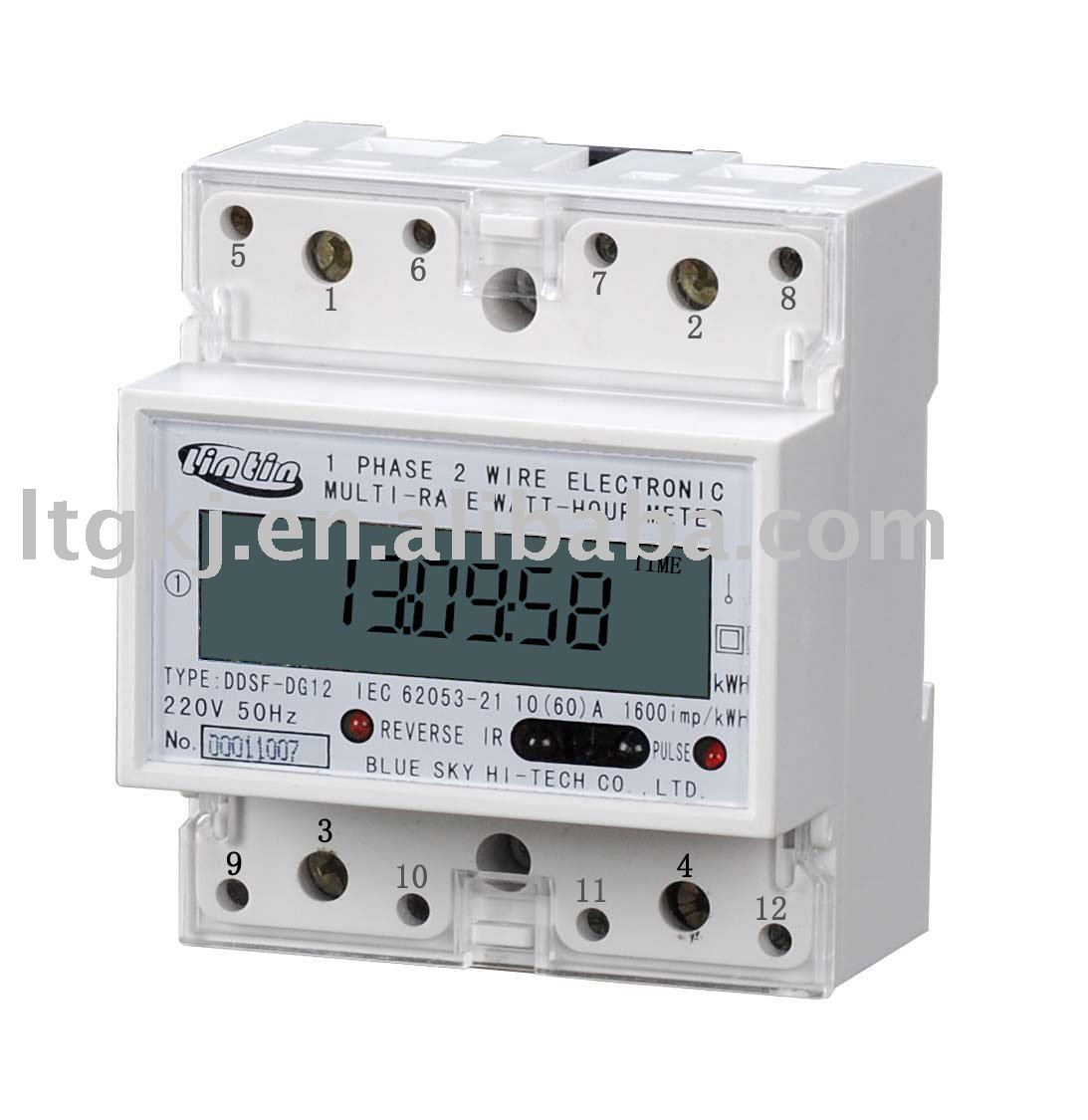 DDS8888 8 digits Electric DIN RAIL single phase digital Energy Meter