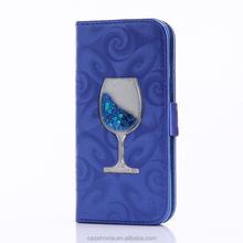 For iPhone5s se shiny flowing liquid star wine wallet stand leather phone case with card slot for iphone 5s se