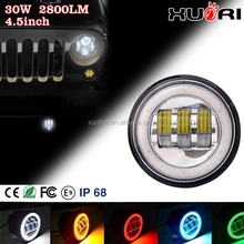 "IP67 Auto led car light 30W Halo ring LED Fog light with angle eyes super bright 4.5"" led ighting for jk jeep"