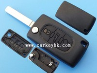 HOT Sale Peugeot 3 button 307 flip key case without groove blade no logo trunk middle button for car key