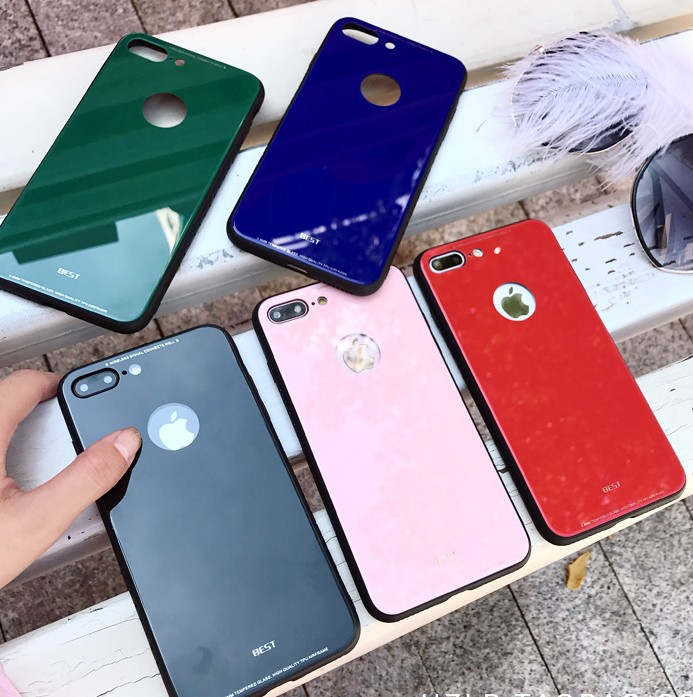 Wholesale Cell cover phone Back Cover 5 Colors Shell pc phone case cute for iPhone 7 8 X glass tpu cover
