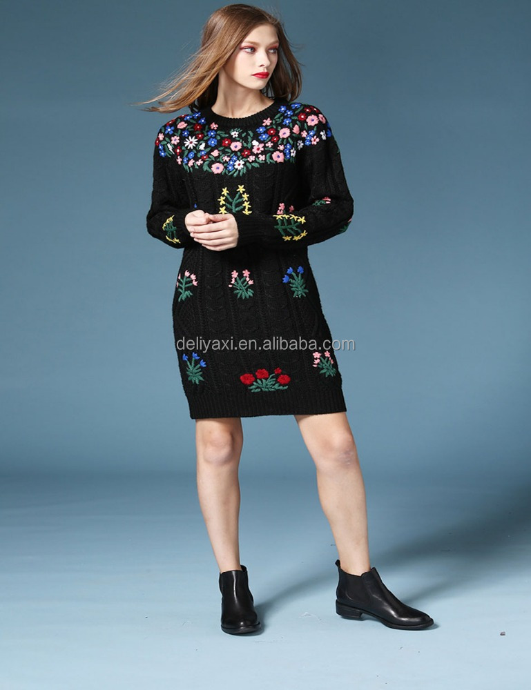 woman wool sweater design for girl black embroidery dress fashion knit winter long sweater clothings wholesale 2017 China