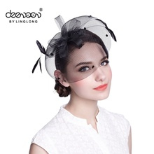 Women Wedding Feather Accessories Wholesale Lady Fascinator Party Hat