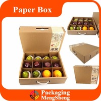 Fruit gift box corrugated board dry fruit packaging box with plastic handle and insert