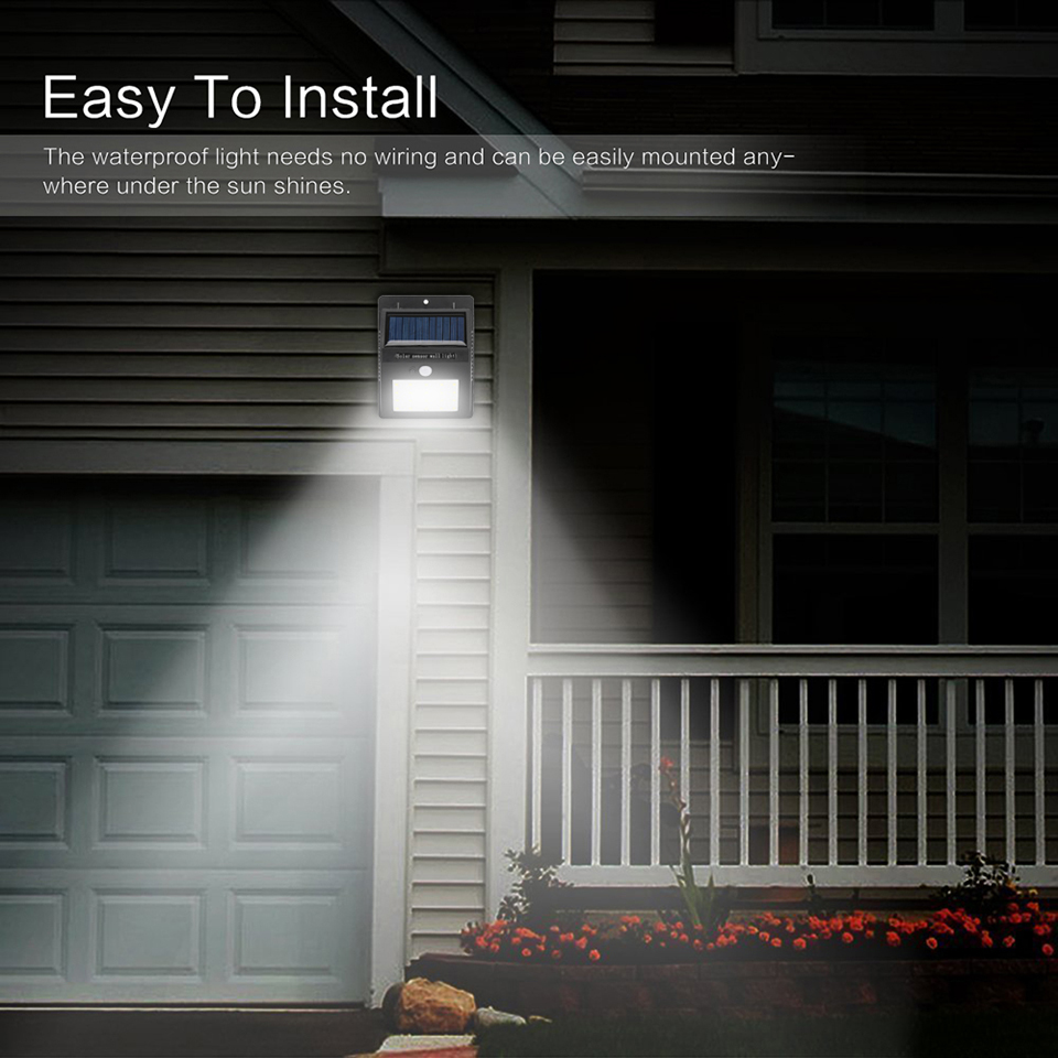 Led Solar Lamp Waterproof Ip65 20led Powered Pir Motion Sensor Wiring House Lighting Light Quipped With 20 Super Bright Lights It Provides Excellent Illumination 200 700 Lumens Detect 120 Degree Angle Range And Up To 5m