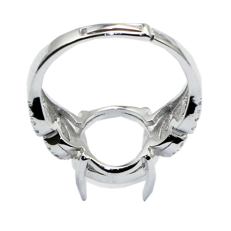 Beadsnice ID30638 925 sterling silver ring setting adjustable US ring size 7 to 9 11.8x11x4.5mm sold by PC unique ring base