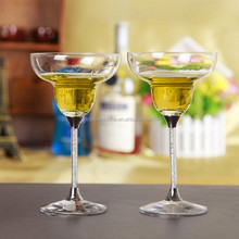 Top high elegant lead free clear crystal 295ml whisky glass with gold color stem brand name glassware for party