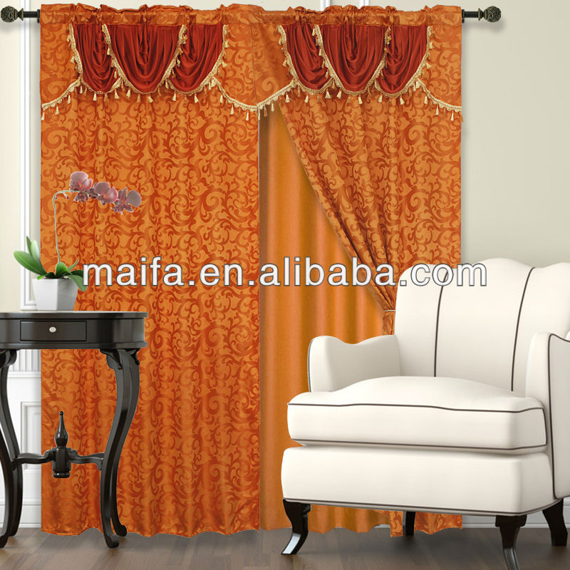 High Quality Rod Pocket Top Jacquard Window Curtain valance curtains with pattern