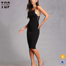 Oem factory adjustable cami straps women's slim fit one piece black sexy bodycon dress