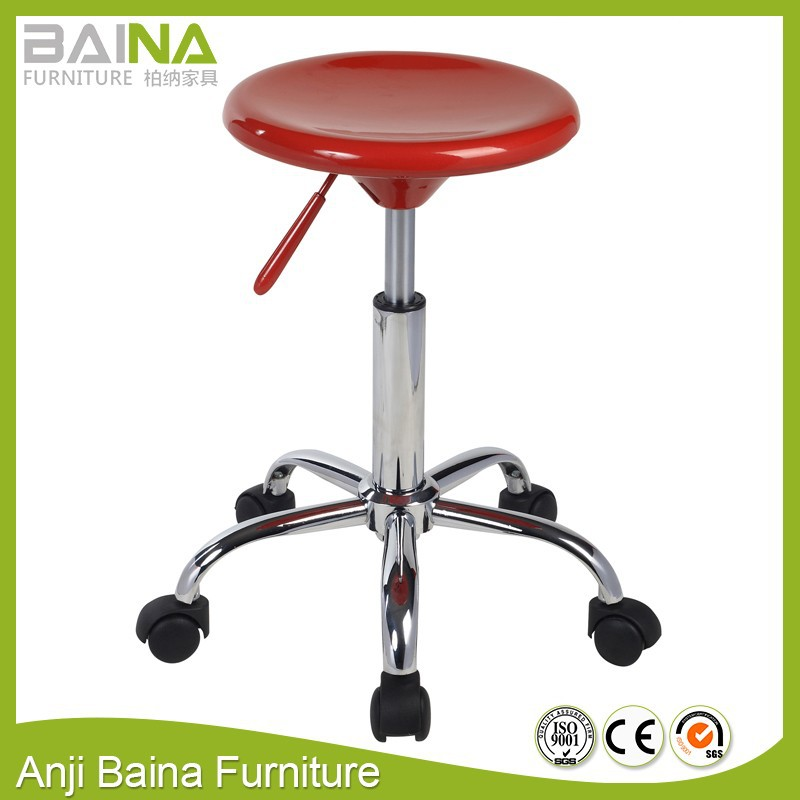 ABS plastic round stool with wheels