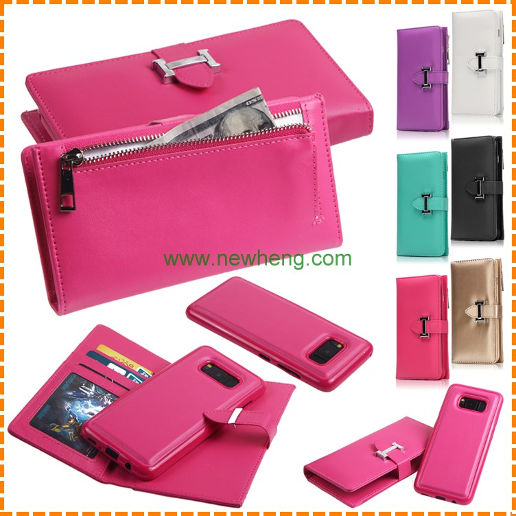 Bright color PU leather zipper wallet Mobile Phone Case for Samsung Galaxy S8