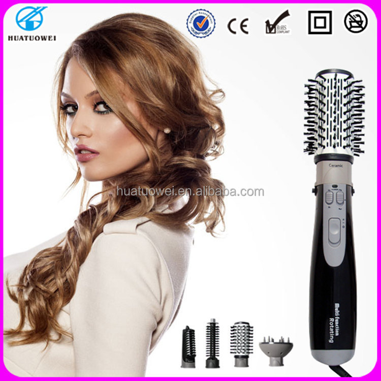 Private label hair brush 4 in 1 electric ceramic rotating hair brush