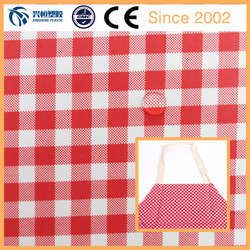 190T pvc laminated waterproof fabric with red&white check printed for home apron