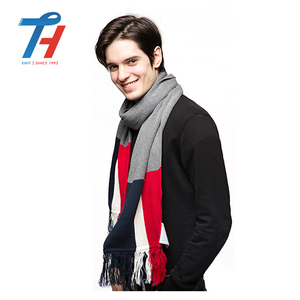 Custom New Type Competitive Price Three Color Blend Winter Pakistan Style Men Knitting Knit Scarf With Tassel