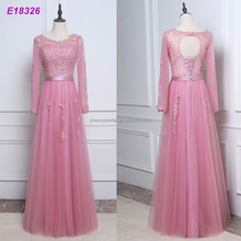 Pink Tulle Formal Gowns Sexu Back Open Evening Dress In China