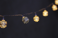 warm led silver hollow ballstring light