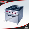 Restaurant Stainless Steel 4 Burners Gas Cooker With Cabinet For Commercial Use