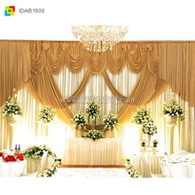 church backdrop decoration/gold ice silk wedding stage flower backdrop/portable stage backdrops wholesale