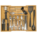Expandable Bamboo High Capacity Kitchen Drawer Organizer for Silverware, Flatware and Utensils