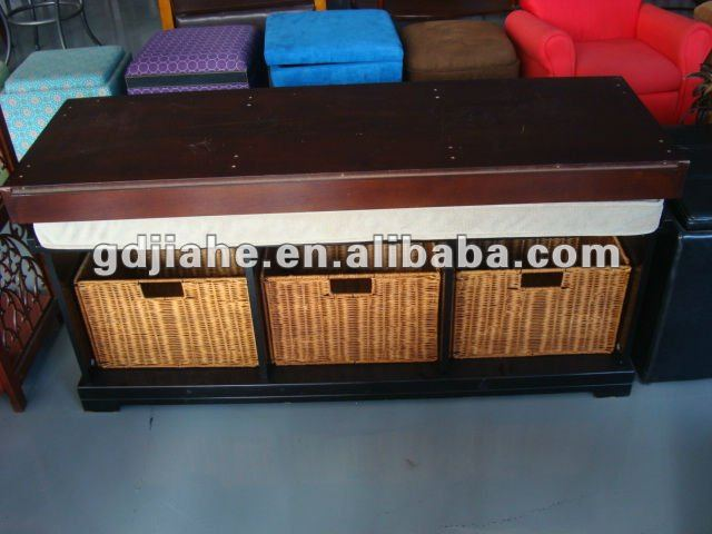 Hot selling Wooden work sitting Bench with baskets