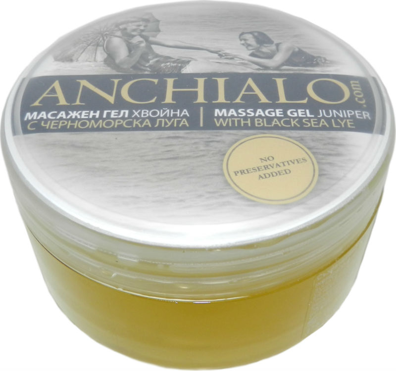 100% natural massage gel ANCHIALO with Black Sea Lye and juniper applied for Bones and Joint pains, Aroma & Physiotherapy